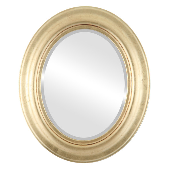 Beveled Mirror - Lancaster Oval Frame - Gold Leaf