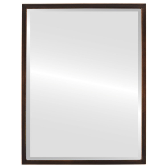 Bevelled Mirror - London Rectangle Frame - Rubbed Bronze