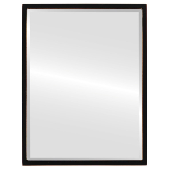 Bevelled Mirror - London Rectangle Frame - Rubbed Black