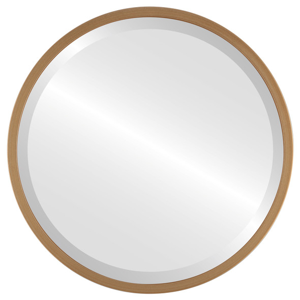 Bevelled Mirror - London Round Frame - Gold Paint