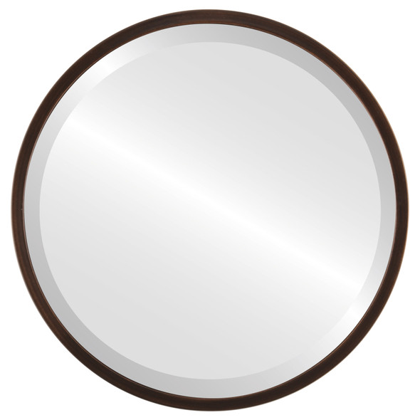 Bevelled Mirror - London Round Frame - Rubbed Bronze