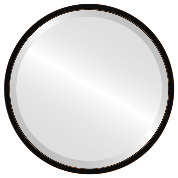 Bevelled Mirror - London Round Frame - Rubbed Black