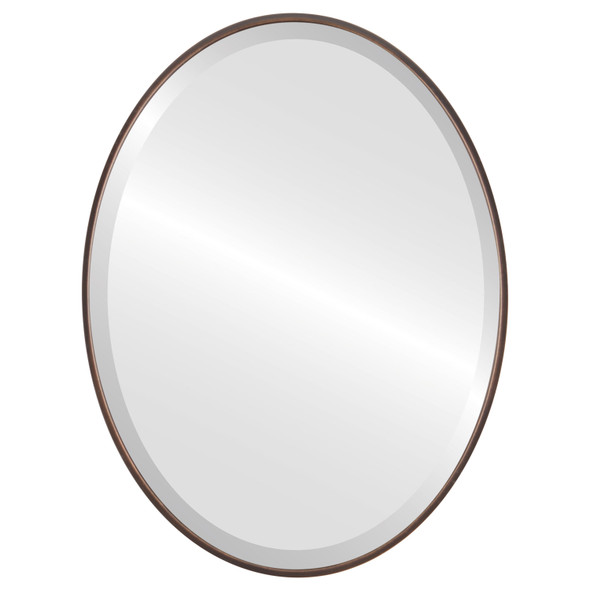 Bevelled Mirror - Singapore Oval Frame - Rubbed Bronze