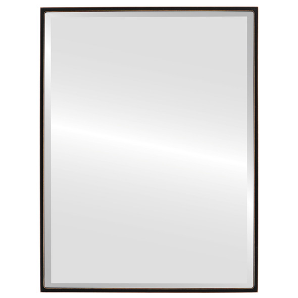 Bevelled Mirror - Singapore Rectangle Frame - Rubbed Black