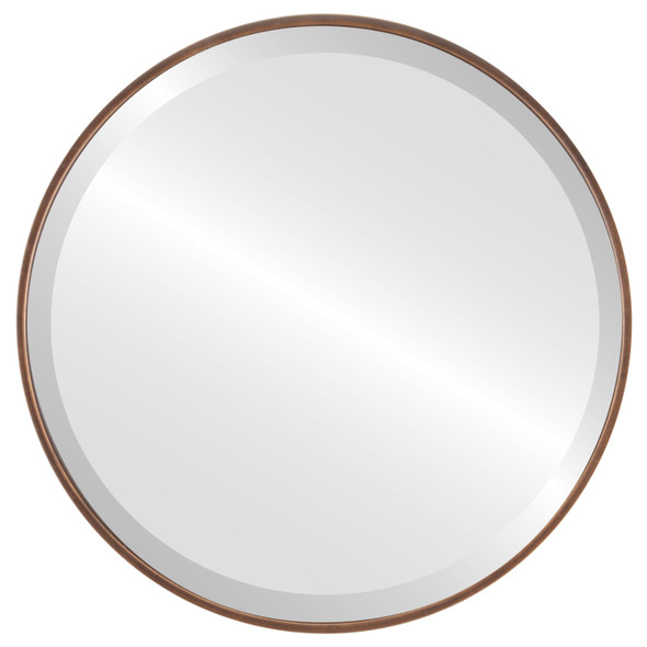 Bevelled Mirror - Singapore Round Frame - Rubbed Bronze