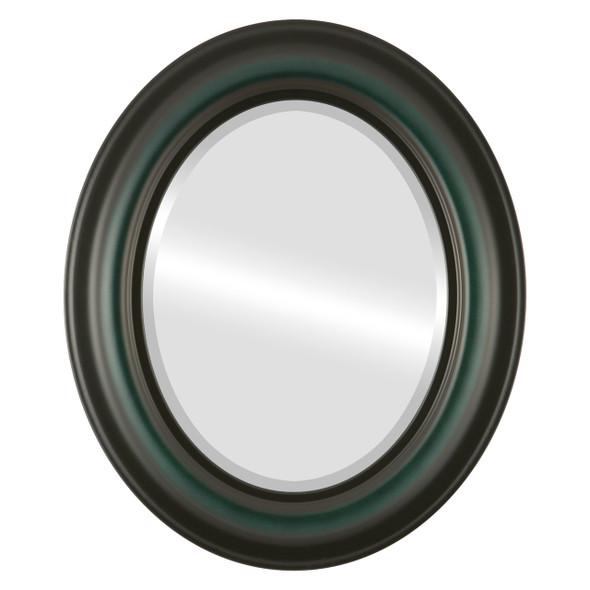 Beveled Mirror - Lancaster Oval Frame - Hunter Green