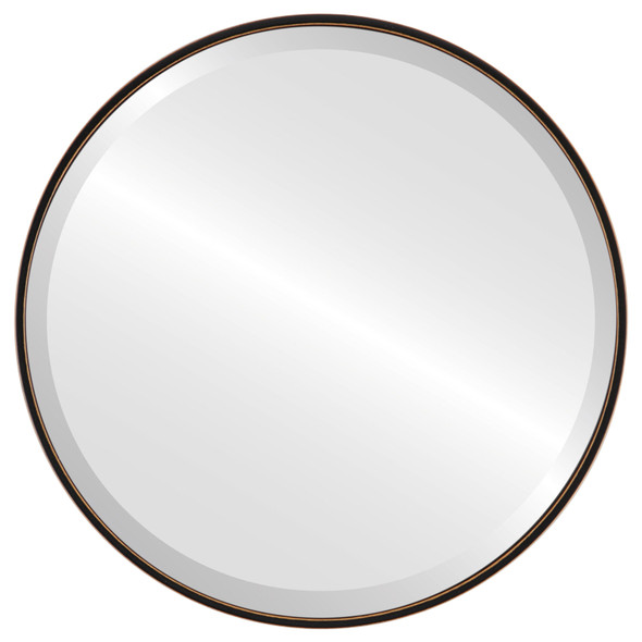 Bevelled Mirror - Singapore Round Frame - Rubbed Black