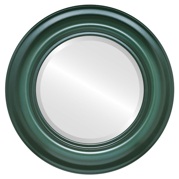 Beveled Mirror - Lancaster Round Frame - Hunter Green