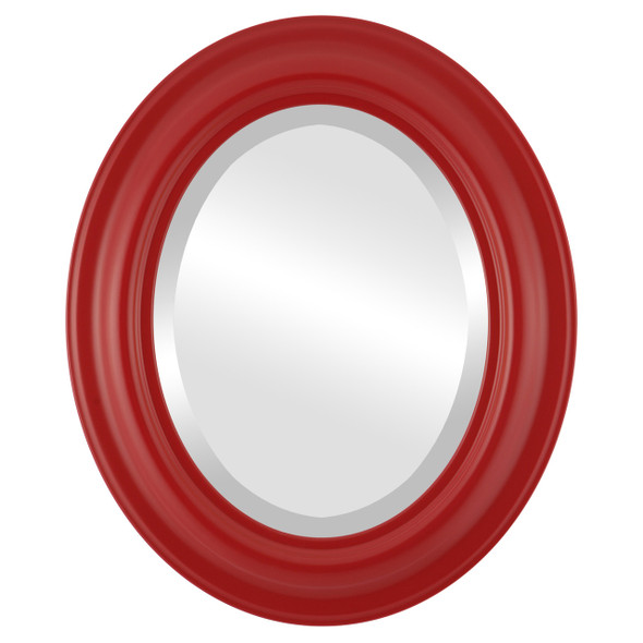 Beveled Mirror - Lancaster Oval Frame - Holiday Red