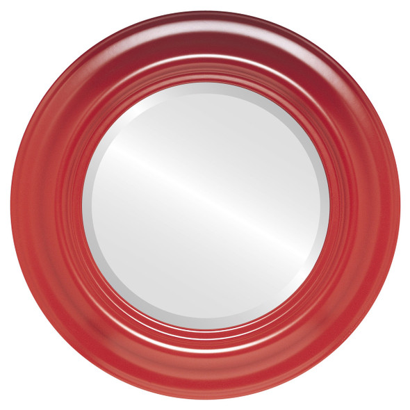 Beveled Mirror - Lancaster Round Frame - Holiday Red