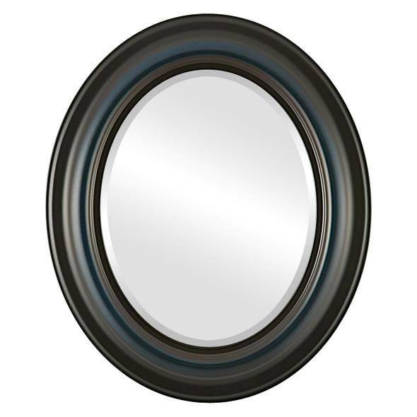 Beveled Mirror - Lancaster Oval Frame - Royal Blue