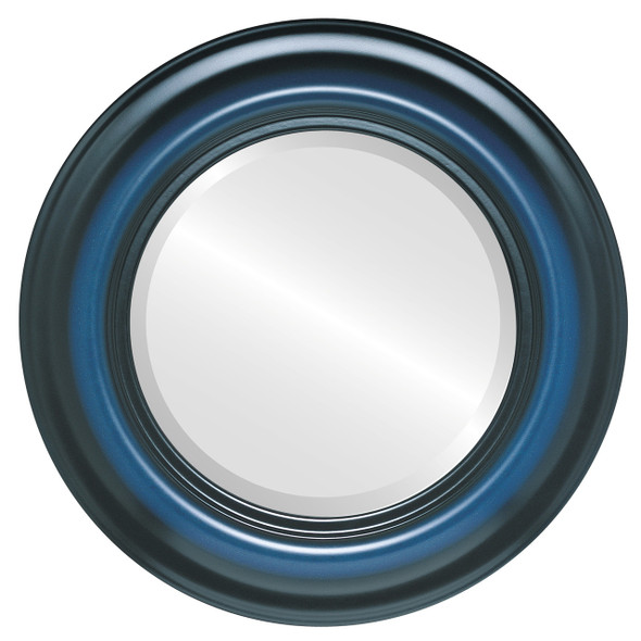 Beveled Mirror - Lancaster Round Frame - Royal Blue
