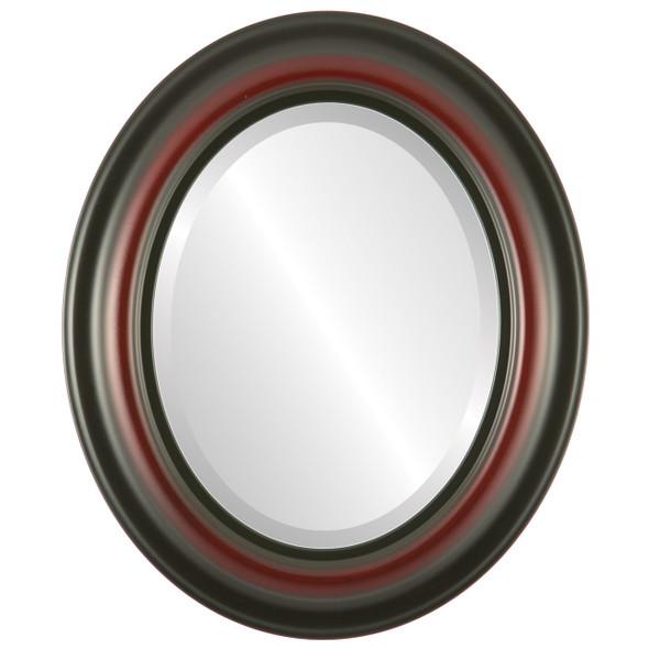 Beveled Mirror - Lancaster Oval Frame - Rosewood
