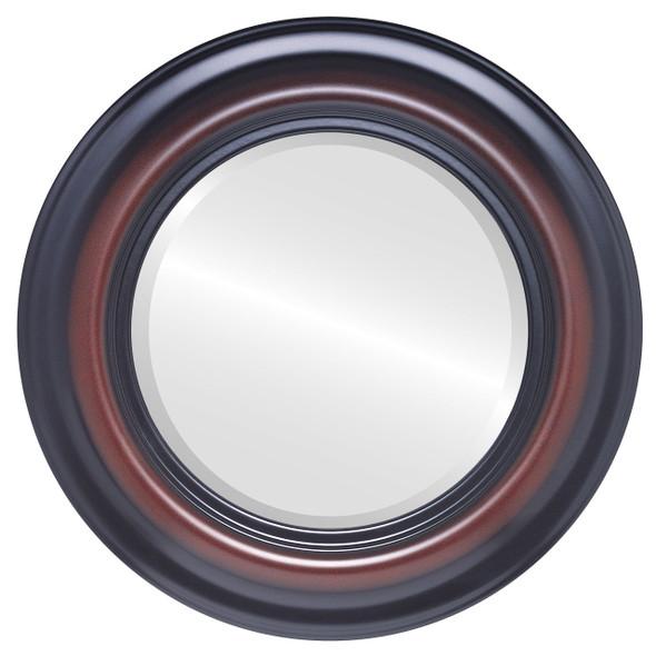 Beveled Mirror - Lancaster Round Frame - Rosewood