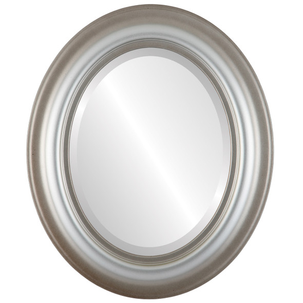 Beveled Mirror - Lancaster Oval Frame - Silver Shade