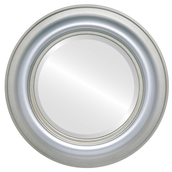 Beveled Mirror - Lancaster Round Frame - Silver Shade
