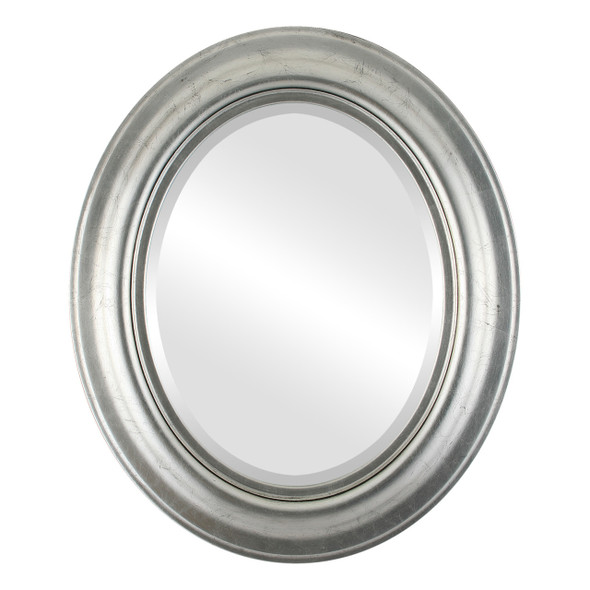 Beveled Mirror - Lancaster Oval Frame - Silver Leaf with Black Antique