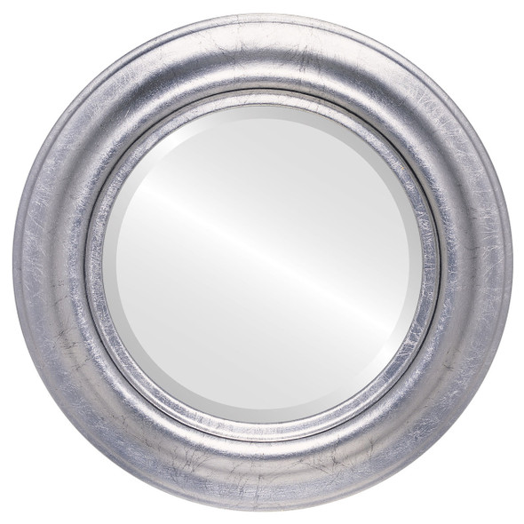 Beveled Mirror - Lancaster Round Frame - Silver Leaf with Black Antique