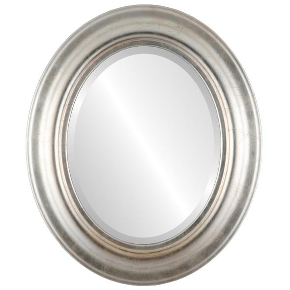Beveled Mirror - Lancaster Oval Frame - Silver Leaf with Brown Antique