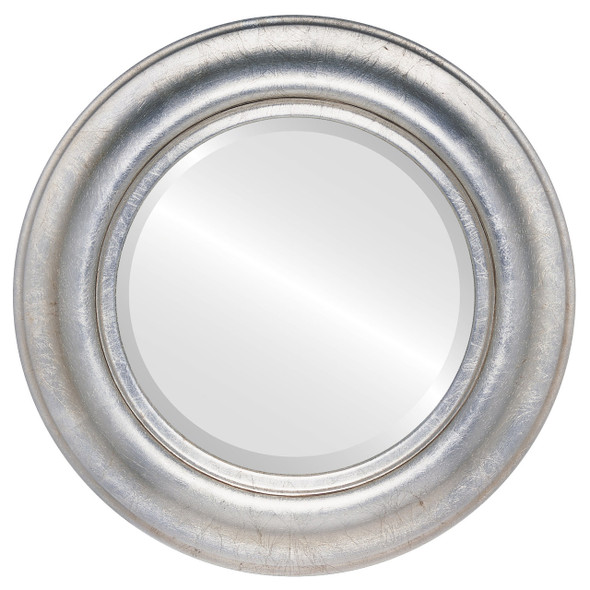 Beveled Mirror - Lancaster Round Frame - Silver Leaf with Brown Antique