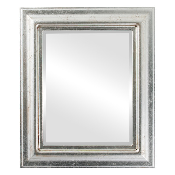 Beveled Mirror - Lancaster Rectangle Frame - Silver Leaf with Brown Antique