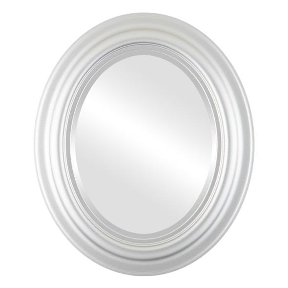 Beveled Mirror - Lancaster Oval Frame - Silver Spray