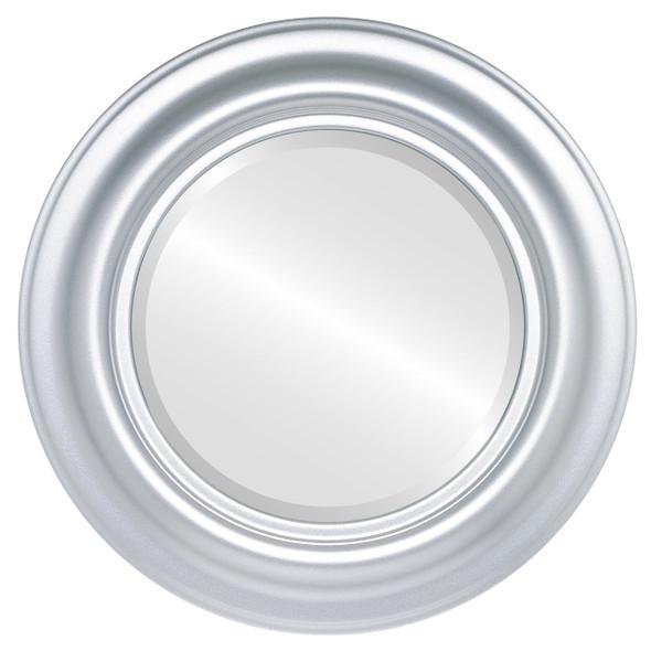 Beveled Mirror - Lancaster Round Frame - Silver Spray