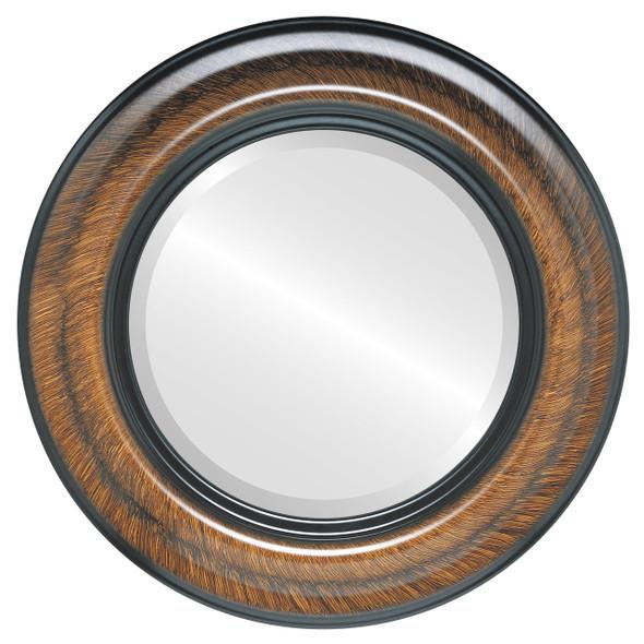 Beveled Mirror - Lancaster Round Frame - Vintage Walnut
