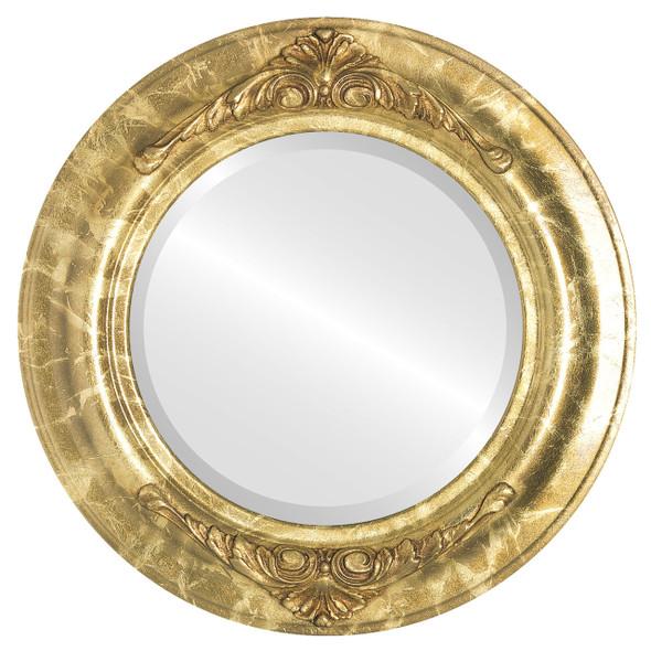 Beveled Mirror - Winchester Round Frame - Champagne Gold