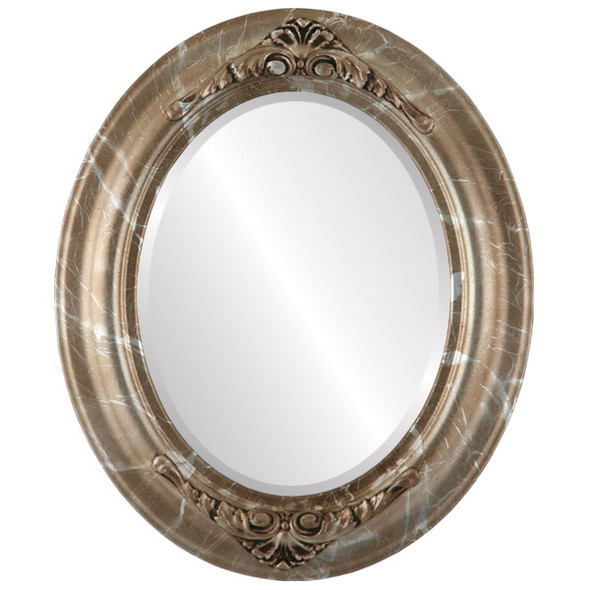 Beveled Mirror - Winchester Oval Frame - Champagne Silver