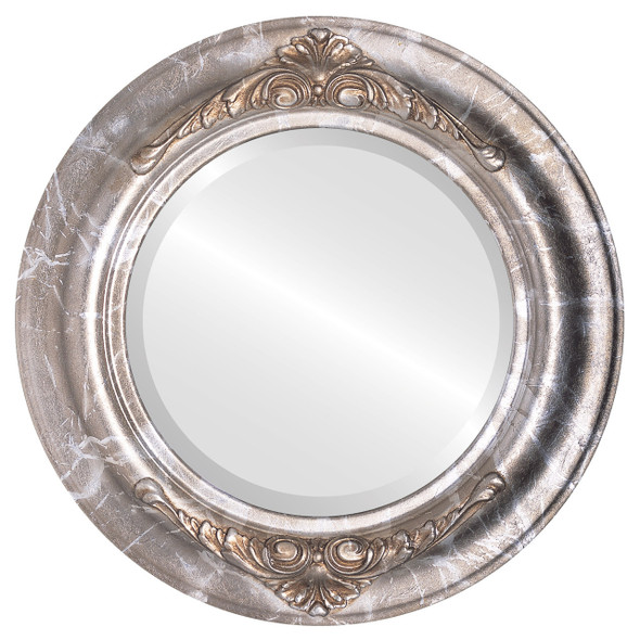 Beveled Mirror - Winchester Round Frame - Champagne Silver