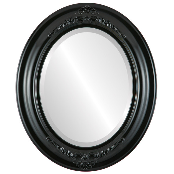 Beveled Mirror - Winchester Oval Frame - Gloss Black