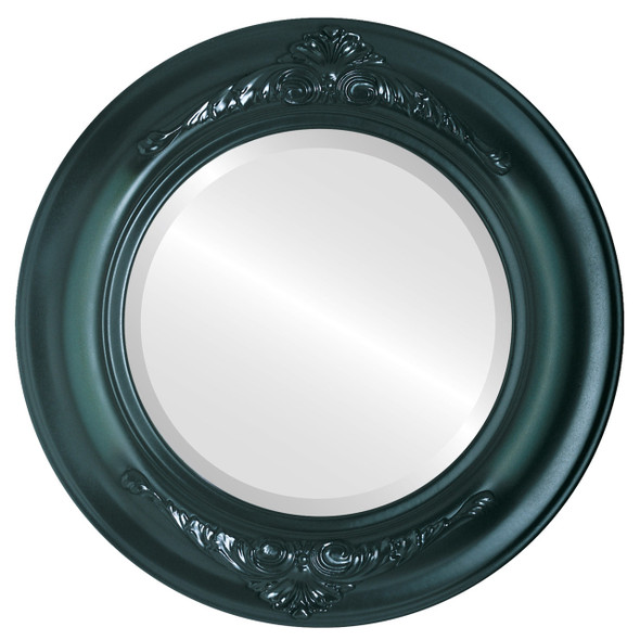 Beveled Mirror - Winchester Round Frame - Hunter Green