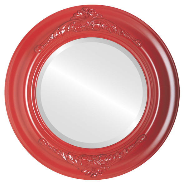 Beveled Mirror - Winchester Round Frame - Holiday Red