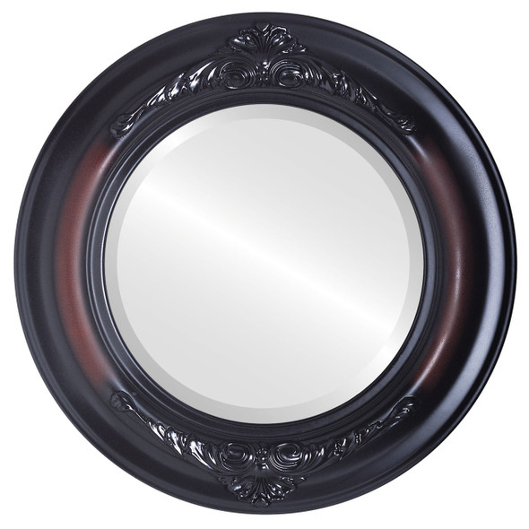 Beveled Mirror - Winchester Round Frame - Rosewood