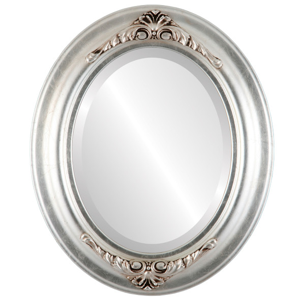Beveled Mirror - Winchester Oval Frame - Silver Leaf with Brown Antique