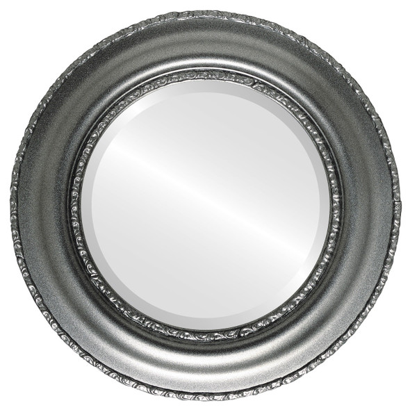 Beveled Mirror - Somerset Round Frame - Black Silver