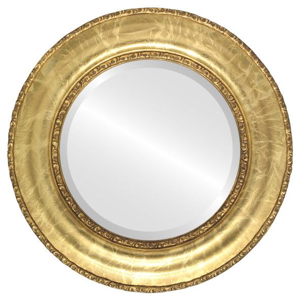 Beveled Mirror - Somerset Round Frame - Champagne Gold