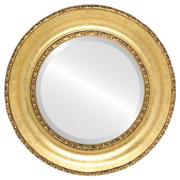 Beveled Mirror - Somerset Round Frame - Gold Leaf
