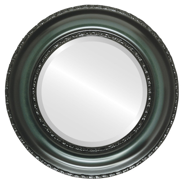 Beveled Mirror - Somerset Round Frame - Hunter Green