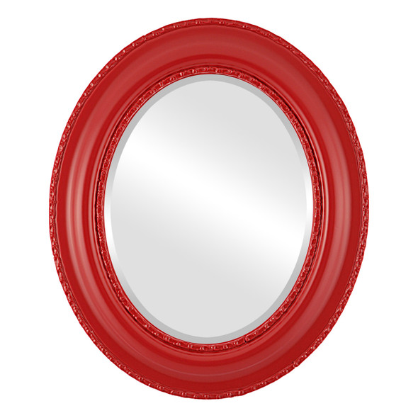 Beveled Mirror - Somerset Oval Frame - Holiday Red