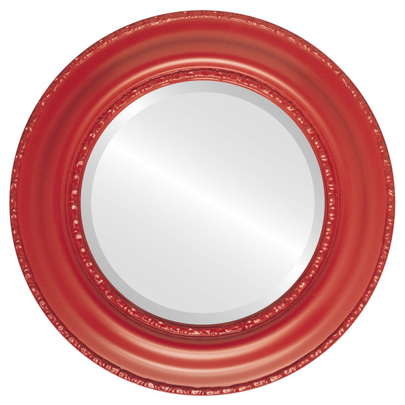 Beveled Mirror - Somerset Round Frame - Holiday Red
