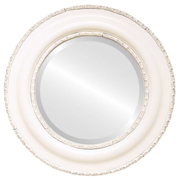 Beveled Mirror - Somerset Round Frame - Linen White