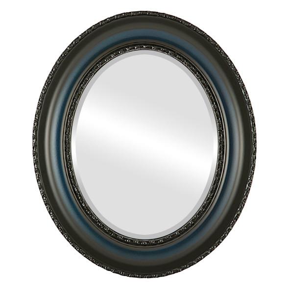 Beveled Mirror - Somerset Oval Frame - Royal Blue