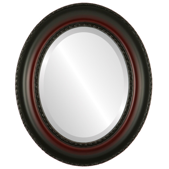 Beveled Mirror - Somerset Oval Frame - Rosewood