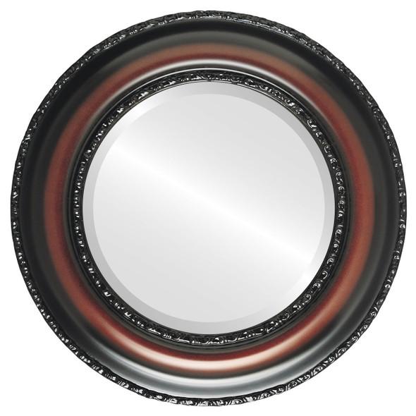 Beveled Mirror - Somerset Round Frame - Rosewood