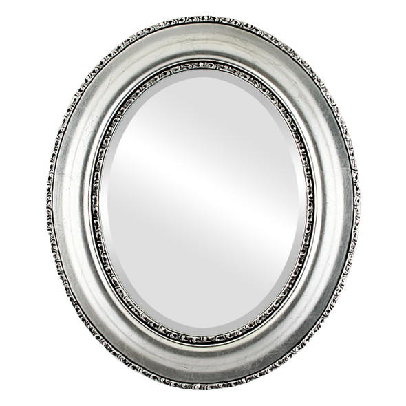 Beveled Mirror - Somerset Oval Frame - Silver Leaf with Black Antique