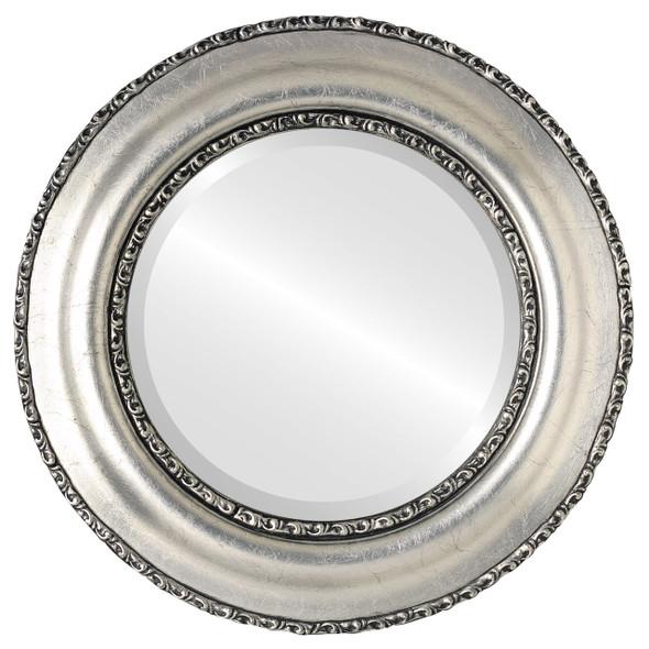 Beveled Mirror - Somerset Round Frame - Silver Leaf with Black Antique