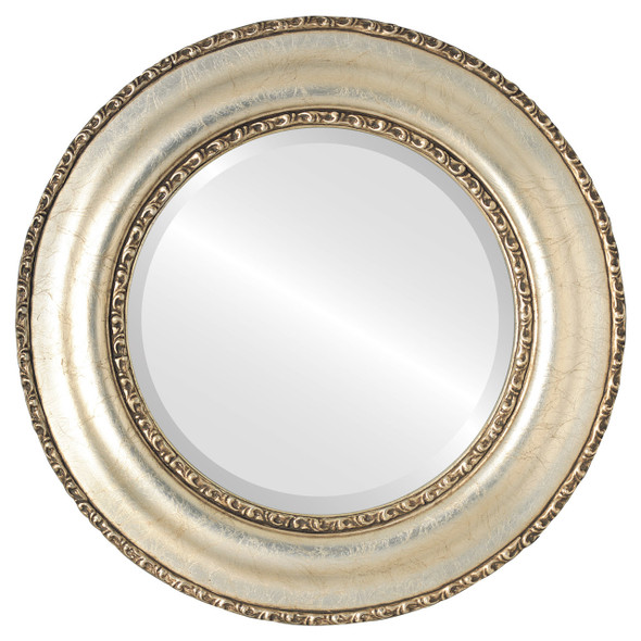 Beveled Mirror - Somerset Round Frame - Silver Leaf with Brown Antique