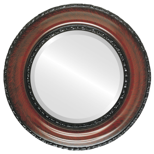 Beveled Mirror - Somerset Round Frame - Vintage Cherry